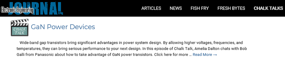 """Panasonic X-GaN™ has appeared in the """"Chalk Talk"""" by EE"""