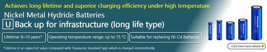 Achieves long lifetime and superior changing efficiency under high temperature Nickel Metal Hydride Batteries Back uo for infrastructure (long life type) Click here for details